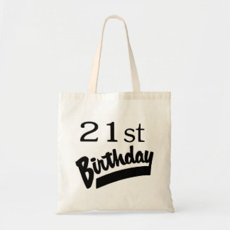 21st Birthday Black Canvas Bag