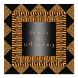 21st Birthday Black Bamboo Harlequin Frame Card