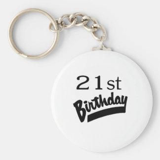 21st Birthday Black Keychain