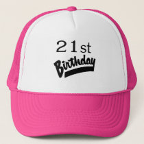 21st Birthday Black Trucker Hat