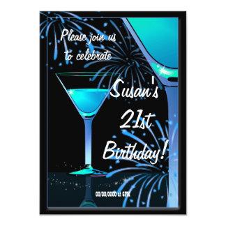 "21st Birthday Blue Martini Cocktail Party 4.5"" X 6.25"" Invitation Card"