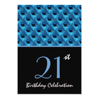 21st Birthday Blue Peacock Feathers W1159 5x7 Paper Invitation Card