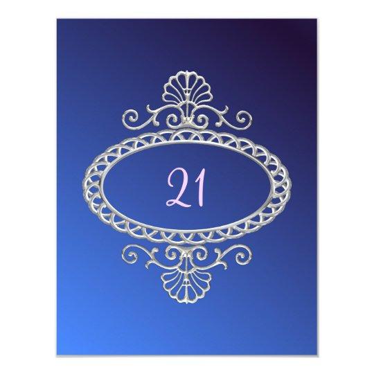21st Birthday Blue Tie Dye & Silver Metal Card