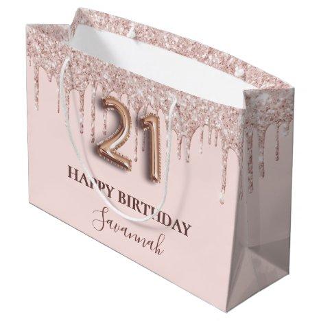 21st birthday blush pink glitter rose gold chic large gift bag