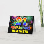 [ Thumbnail: 21st Birthday: Bold, Fun, Fireworks, Rainbow 21 Card ]