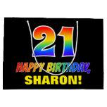[ Thumbnail: 21st Birthday: Bold, Fun, Simple, Rainbow 21 Gift Bag ]
