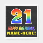 [ Thumbnail: 21st Birthday: Bold, Fun, Simple, Rainbow 21 Napkins ]