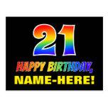 [ Thumbnail: 21st Birthday: Bold, Fun, Simple, Rainbow 21 Postcard ]