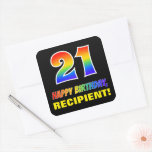 [ Thumbnail: 21st Birthday: Bold, Fun, Simple, Rainbow 21 Sticker ]