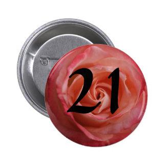 21st birthday button pink rose