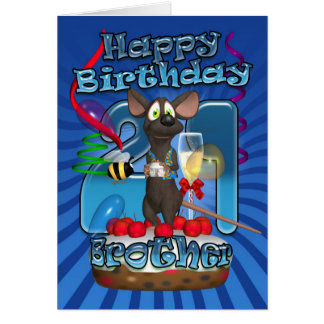 21st Birthday Card For Brother - Funky Mouse On A