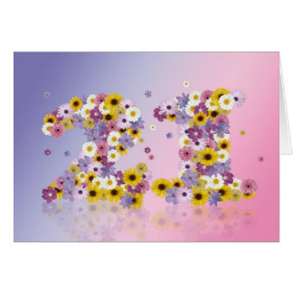 21st birthday card with flowery letters