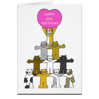 21st birthday celebrated by cats. card