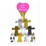 21st birthday celebrated by cats. postcard