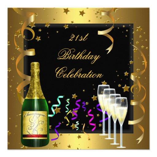 21st Birthday Celebration Gold Black Champagne Invites