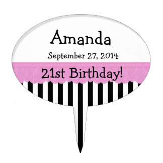 21st Birthday Celebration Stripes V04 Cake Topper