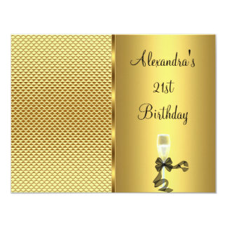 21st Birthday Champagne Glam Gold Glitter Card
