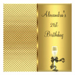 21st Birthday Champagne Glam Gold Glitter Personalized Announcement
