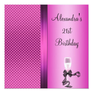 21st Birthday Champagne Glam Pink Glitter Card