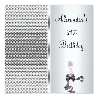 21st Birthday Champagne Glam Silver Glitter Card