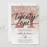 """21st Birthday Champagne Glitter Invitation<br><div class=""""desc"""">Invite family and friends to celebrate 21st Birthday with these chic girly invitations. Design featuring champagne sparkly glitter texture,  twenty one in trendy handwritten script in black and rose gold color. Personalize with your details in block capital lettering.</div>"""