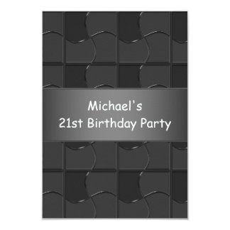 21st Birthday Charcoal Black Puzzle Pattern Custom Announcements