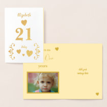 21st Birthday cheers to 21 years photo Foil Card