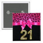 21st Birthday Cheetah Pink Bow Pin