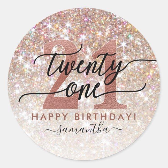21st Birthday Chic Glitter Ombre Classic Round Sticker