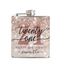 21st Birthday Chic Glitter Ombre Flask