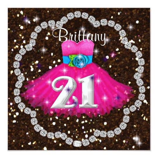 21st Birthday CHIC Pink Party Dress Invitations