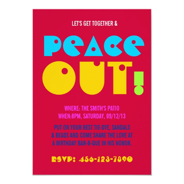 21st Birthday Chill Out Peace Party Invitations | Zazzle