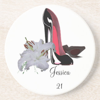 21st Birthday Coaster with Black Stiletto Shoes an