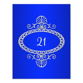 21st Birthday Cobalt Blue & Silver Metal Card