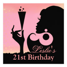 21st Birthday Cocktail Party pink Personalized Announcements