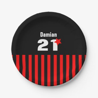 21st Birthday Collection Red Black Stripes A01 Paper Plate