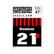 21st Birthday Collection Red Black Stripes A01 Postage