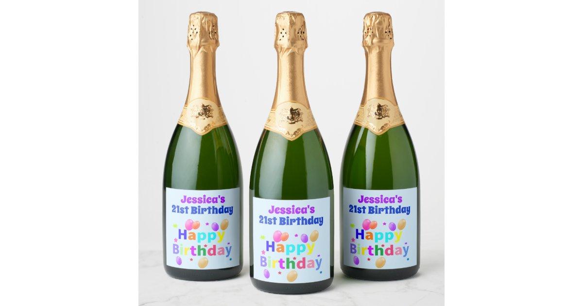 21st Birthday Colorful Balloons Happy Birthday Champagne Label Zazzle Com