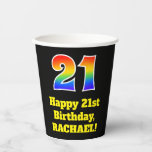 [ Thumbnail: 21st Birthday: Colorful, Fun, Exciting, Rainbow 21 ]