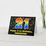 [ Thumbnail: 21st Birthday: Colorful Music Symbols & Rainbow 21 Card ]