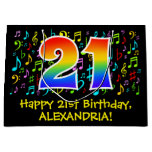 [ Thumbnail: 21st Birthday - Colorful Music Symbols, Rainbow 21 Gift Bag ]