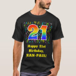 [ Thumbnail: 21st Birthday: Colorful Music Symbols, Rainbow 21 T-Shirt ]