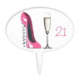21st Birthday Corkscrew Pink Stiletto and Champagn Cake Topper
