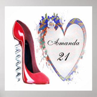 21st Birthday Corkscrew Stiletto Customisable Post Poster