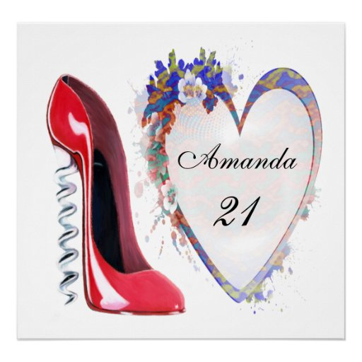 21st Birthday Corkscrew Stiletto Customisable Post Poster