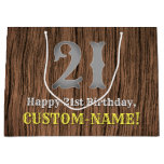 [ Thumbnail: 21st Birthday: Country Western Inspired Look, Name Gift Bag ]