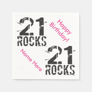 21st Birthday Custom Name PINK 21 Rocks Paper Napkin