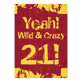 21st Birthday Damask Paint Splash Wild and Crazy 5x7 Paper Invitation Card