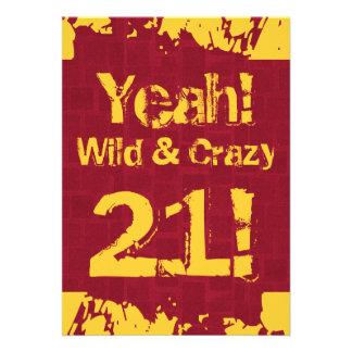 21st Birthday Damask Paint Splash Wild and Crazy Announcement