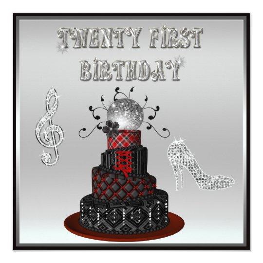 21st Birthday Disco Diva Cake Silver Sparkle Heels Card